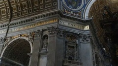 View of the dome and saint Peter's baldachin in the Vatican Stock Footage