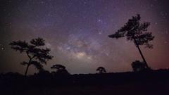 Timelapse Milky Way at Phu Hin Rong Kla National Park,Phitsanulok Thailand Stock Footage