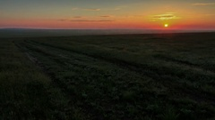 4K. Timelapse sunrise in the steppe, the Rostov region, Russia, (Time Lapse)  Stock Footage
