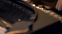 Close up of an old typewriter used by a secretary Stock Footage