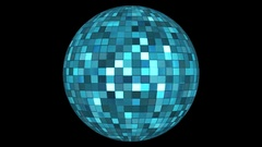 Twinkling Hi-Tech Squares Spinning Globe, Blue, Alpha Matte, Loopable, 4K Stock Footage