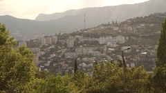 Midday in Yalta with view on TV tower and Ai-Petri Mountain Stock Footage