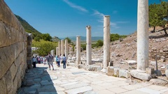 Selcuk Turkey Ancient Pillars in Ephesus Stock Footage