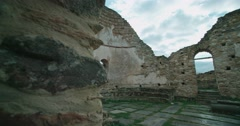 Ruins of great basilica of Bulgarian Tsar Samuil Stock Footage