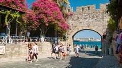 Rhodes Greece People Entering Vibrant Old Town Stock Footage