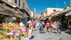 Rhodes Greece Colorful Old Town Street Scene Stock Footage