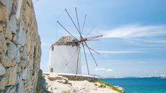 Mykonos Greece Windmill Against the Mediterranean Sea Stock Footage