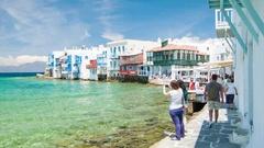 Little Venice on Mykonos Island in Greece Stock Footage
