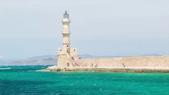 Chania Lighthouse on Crete in Greece Stock Footage