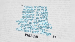 Golden Bible Verse, Phil 4-8 Stock Footage