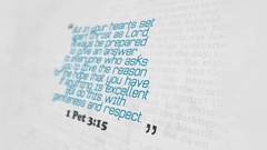 Golden Bible Verse, 1 Pet 3-15 Stock Footage