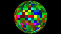 Twinkling Hi-Tech Squares Spinning Globe, Multi Color, Alpha Matte, Loopable, 4K Stock Footage