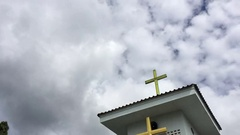Thai Protestant church with cross on the roof. time lapse clouds. Stock Footage