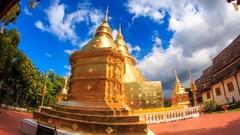 Wat Phra Singh Temple Landmark Destination Place Of Chiang Mai, Thailand Stock Footage