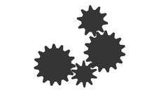 Gear - Cogwheel, rotating machine. White and black Stock Footage