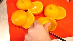 Sliced oranges for making of fresh juice Stock Footage