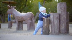 Baby boy playing on the playground in the park. He stands near the tree stumps Stock Footage