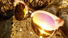 The reflection of the sea in sunglasses Stock Footage
