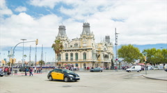 Port de Barcelona Building with City Street Traffic Stock Footage
