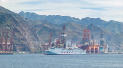 Tenerife Canary Islands Industrial Port with Mountains Stock Footage