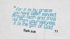 Golden Bible Verse, Eph 2-8 Stock Footage