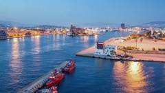 Athens Greece Departing Ferries from Piraeus Port Timelapse Stock Footage