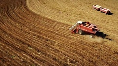 Aerial of a soybean harvest in Kansas Stock Footage