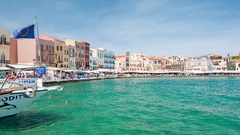 Chania Crete Greece Scenic Harbor Waterfront Stock Footage