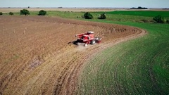 Aerial view of soybean harvest in Kansas Stock Footage