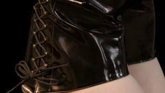 Long legs in black leather boots Stock Footage