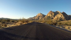Red Rock Canyon National Conservation Area Early Morning Driving Stock Footage