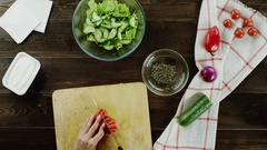 Prepearing side dish with vegetables Stock Footage