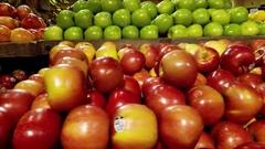 Sweet  Apples in Fruit Market.4K Stock Footage