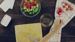 View of prepearing salad Stock Footage