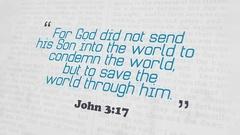 Golden Bible Verse, John 3-17 Stock Footage