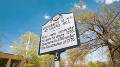 University of N.C. at Chapel Hill Historical Landmark Signage Stock Footage