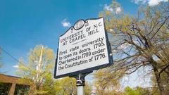 University of N.C. at Chapel Hill Historical Landmark Signage Stock Footage