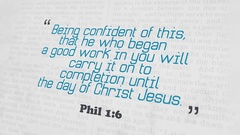 Golden Bible Verse, Phil 1-6 Stock Footage