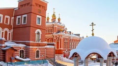 Russian orthodox church. Iversky monastery in Samara, Russia. Winter Stock Footage
