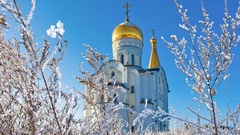 Russian orthodox church of St. Tatiana in Samara, Russia. Winter Stock Footage