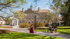 UNC Chapel Hill Campus Scene at Old Well Stock Footage