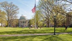 UNC Chapel Hill Polk Place with Wilson Library Background Stock Footage