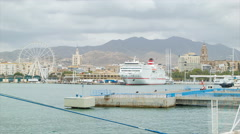 Puerto de Malaga Scene with Ferry and City Background Stock Footage