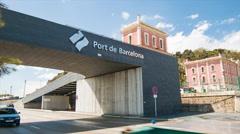 Port de Barcelona Spain Entrance Stock Footage