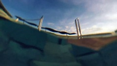 Surface of the outdoor swimming pool water Stock Footage