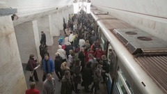 The Moscow metro, people come and go in train metro Stock Footage