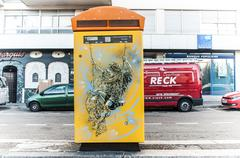 Graffiti of the lovers on mailbox by the painter artist C215 Stock Photos