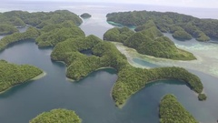 Aerial shot of Marine Lake and Rock Islands in Palau Stock Footage