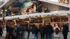 Christmas market of the Champs Elysees Stock Footage