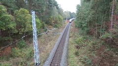 The german ice train driving along railroad to Neu Mukran on Rugen Island. Stock Footage